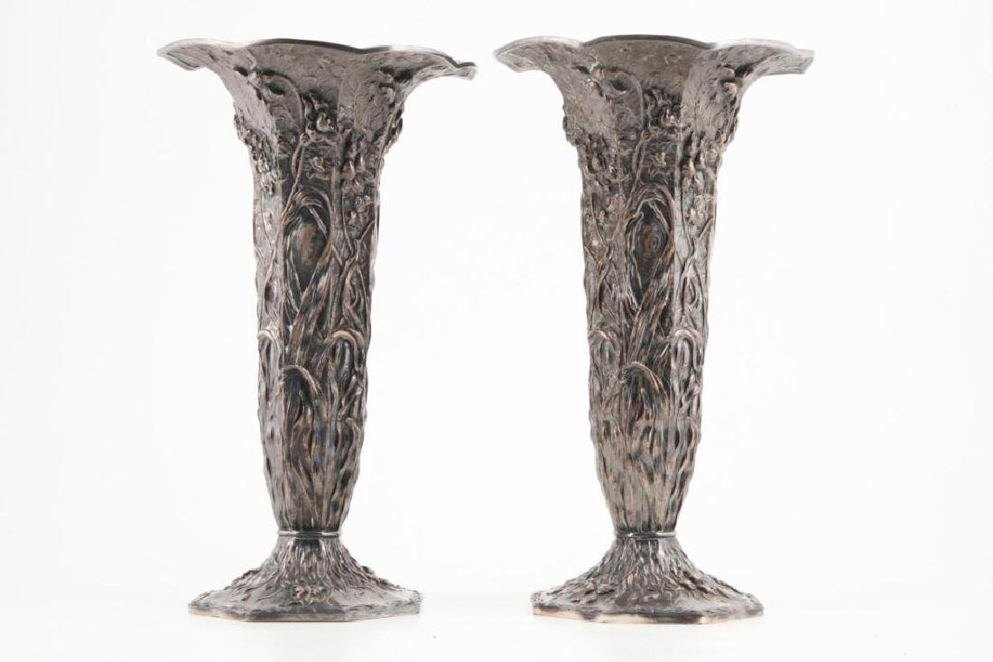 MONUMENTAL PAIR OF VICTORIAN SILVERPLATED URNS