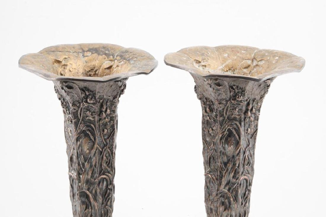 MONUMENTAL PAIR OF VICTORIAN SILVERPLATED URNS - 4