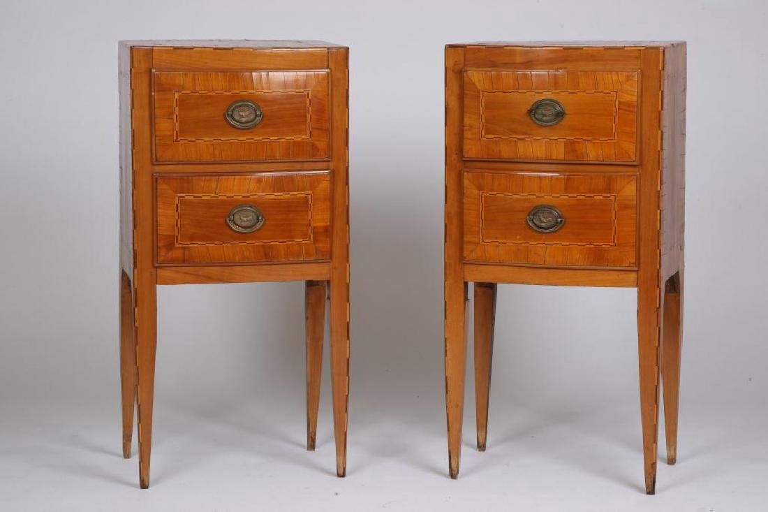 PAIR OF (18th c) CONTINENTAL (2) DRAWER STANDS