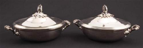 PAIR OF CHRISTOFLE SILVERPLATED COVERED SERVERS