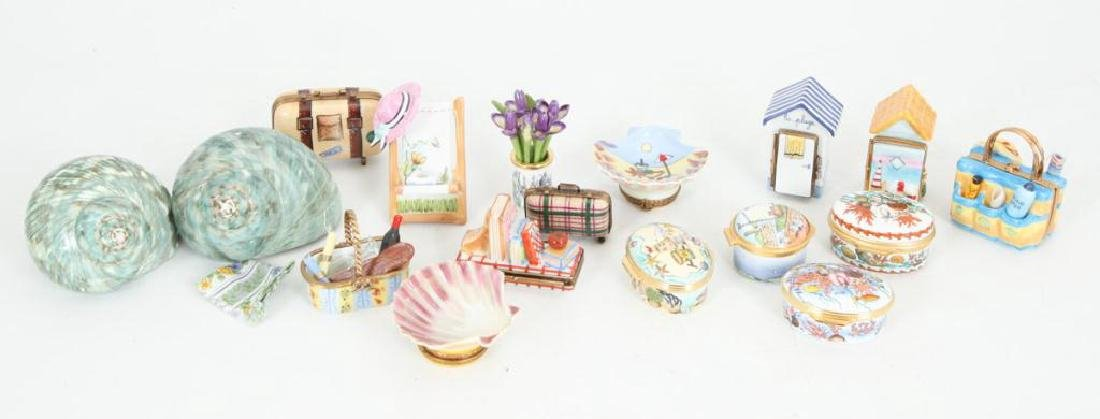 (17) BEACH THEMED ENAMELED & PORCELAIN BOXES