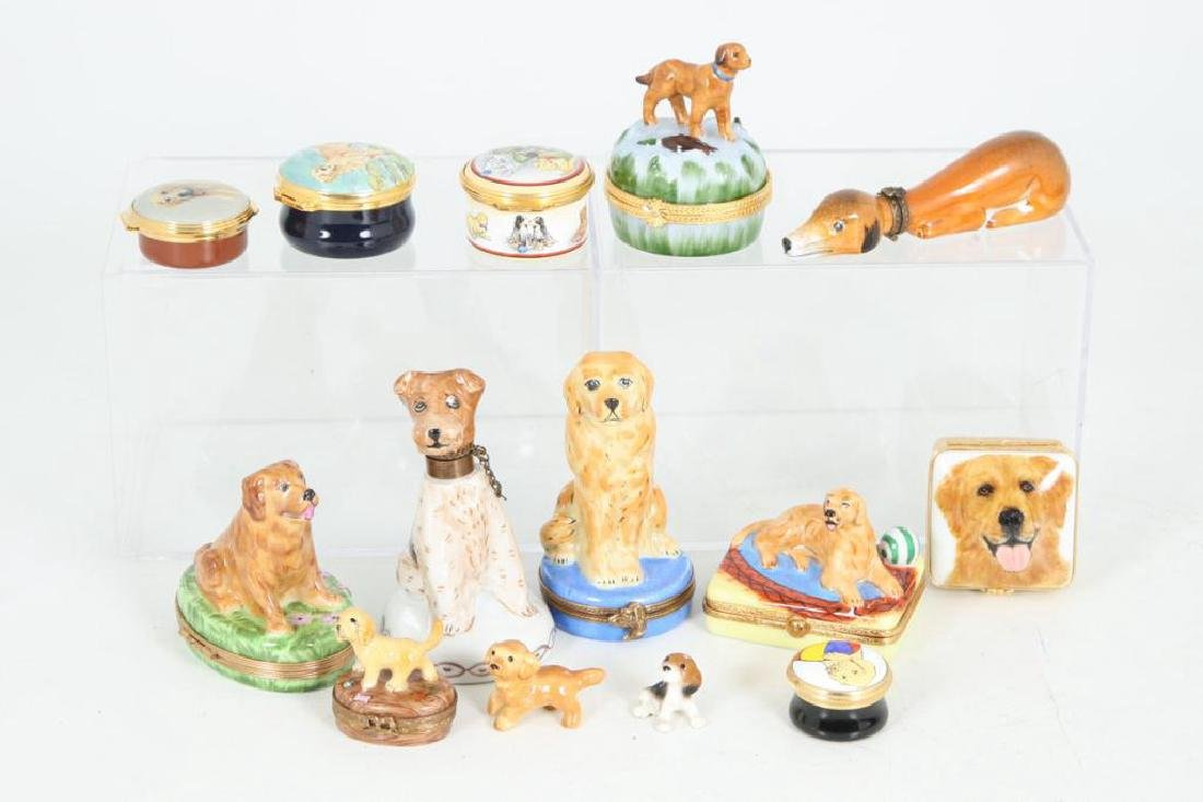 (14) PORCELAIN & ENAMEL FIGURINES AND BOXES