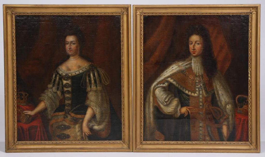 (18th c) PORTRAITS OF KING WILLIAM AND MARY