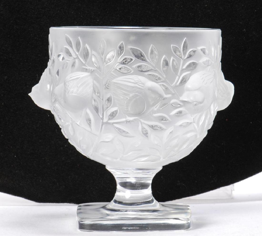 LALIQUE CRYSTAL FROSTED FOOTED SPARROW BOWL