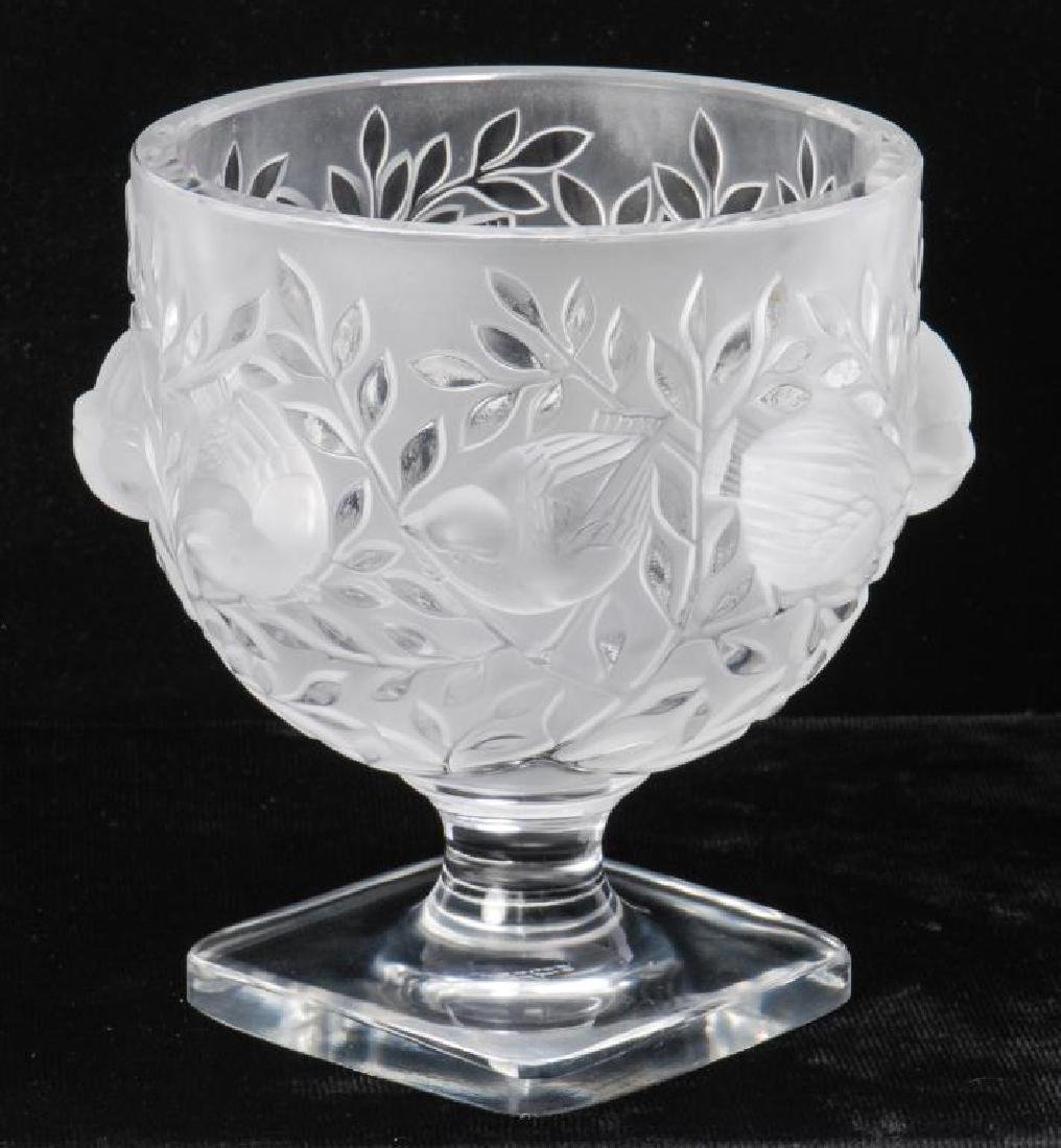 LALIQUE CRYSTAL FROSTED FOOTED SPARROW BOWL - 3