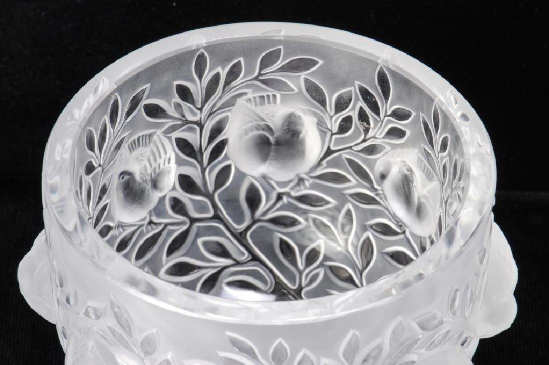 LALIQUE CRYSTAL FROSTED FOOTED SPARROW BOWL - 4