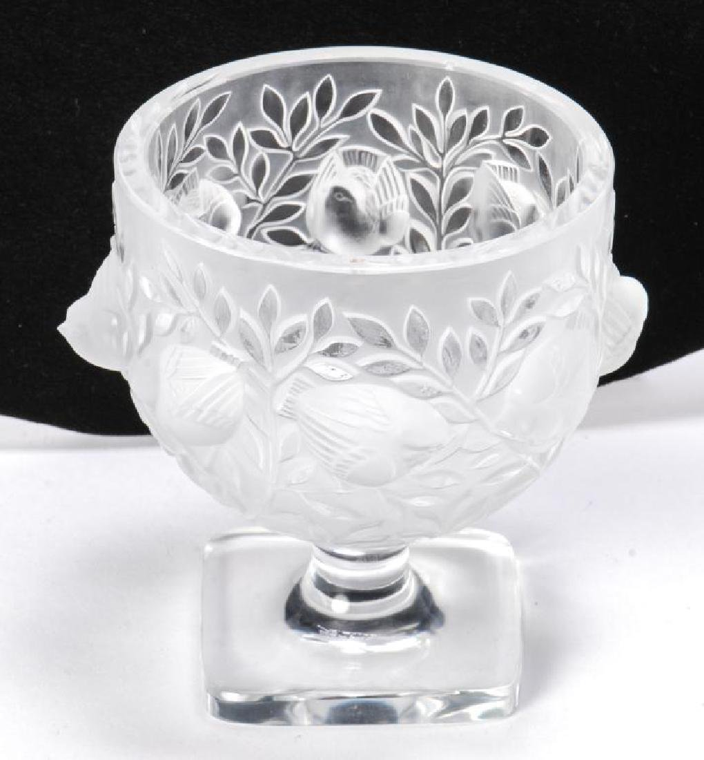 LALIQUE CRYSTAL FROSTED FOOTED SPARROW BOWL - 6