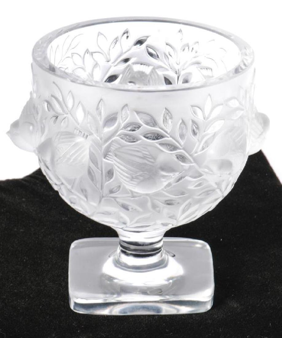 LALIQUE CRYSTAL FROSTED FOOTED SPARROW BOWL - 7