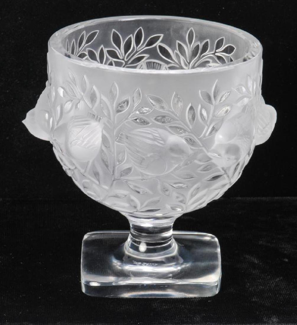 LALIQUE CRYSTAL FROSTED FOOTED SPARROW BOWL - 8