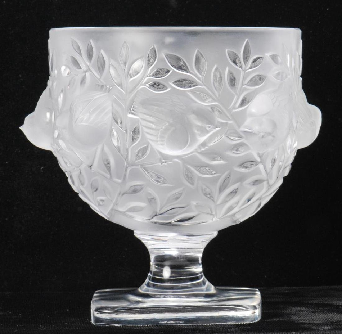 LALIQUE CRYSTAL FROSTED FOOTED SPARROW BOWL - 9