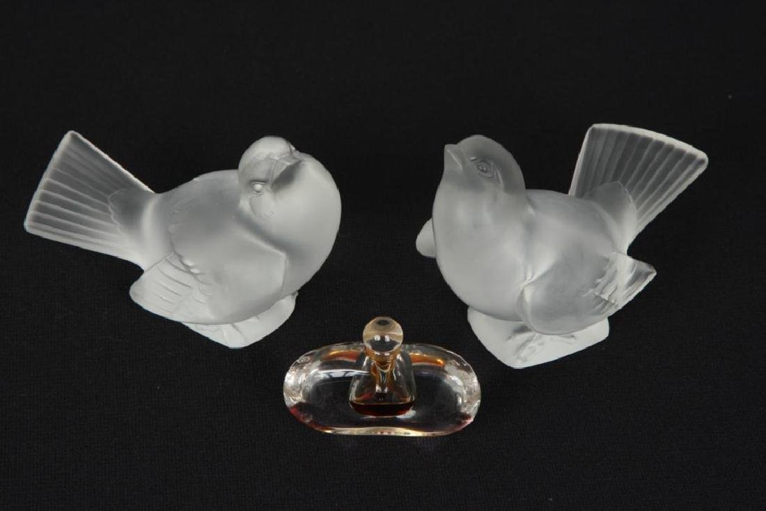 PAIR OF LALIQUE BIRDS AND TIFFANY PERFUME