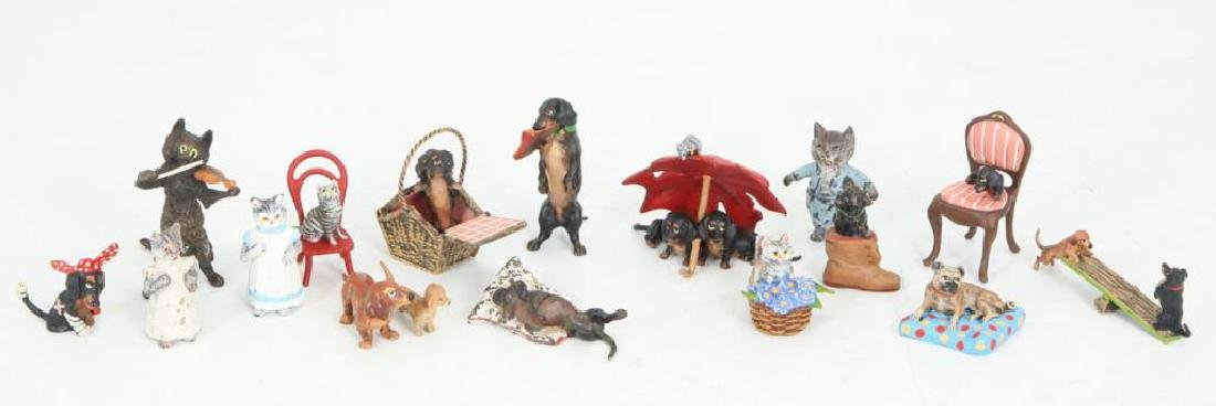 (17) AUSTRIAN COLD PAINTED BRONZE CATS & DOGS