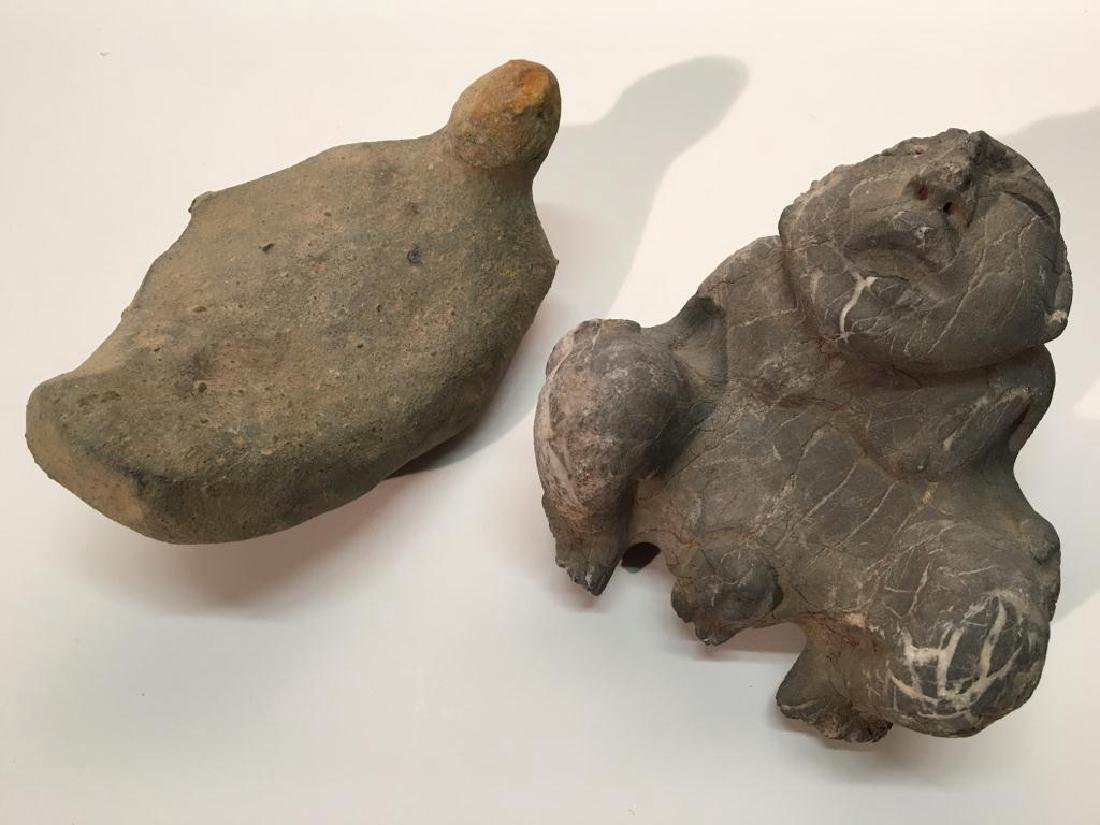 TWO PRE-COLUMBIAN STONE CARVINGS