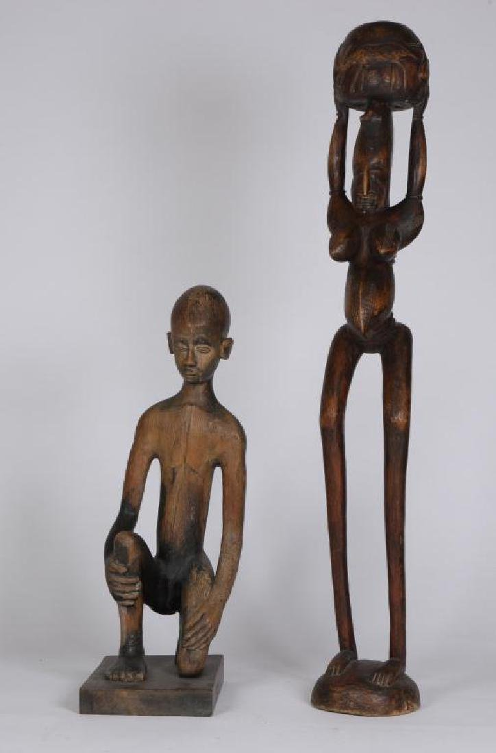 (2) HAND CARVED ETHNOGRAPHIC FERTILITY FIGURES
