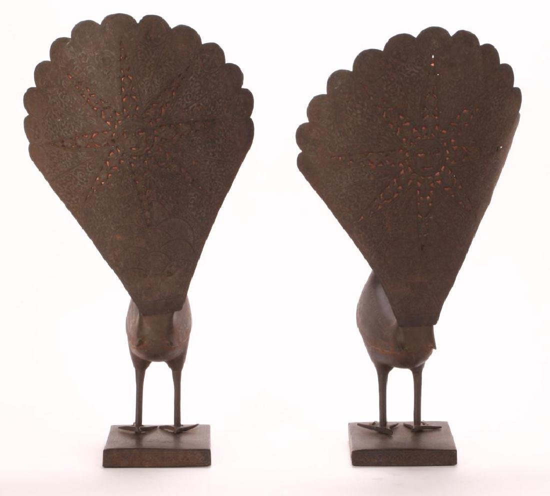 PAIR OF SPANISH WORKED IRON PEACOCKS - 10