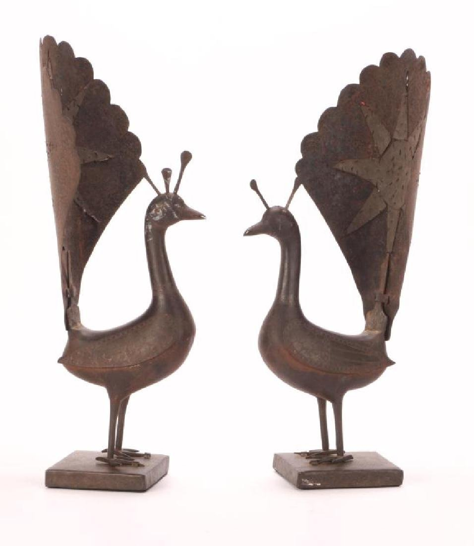 PAIR OF SPANISH WORKED IRON PEACOCKS