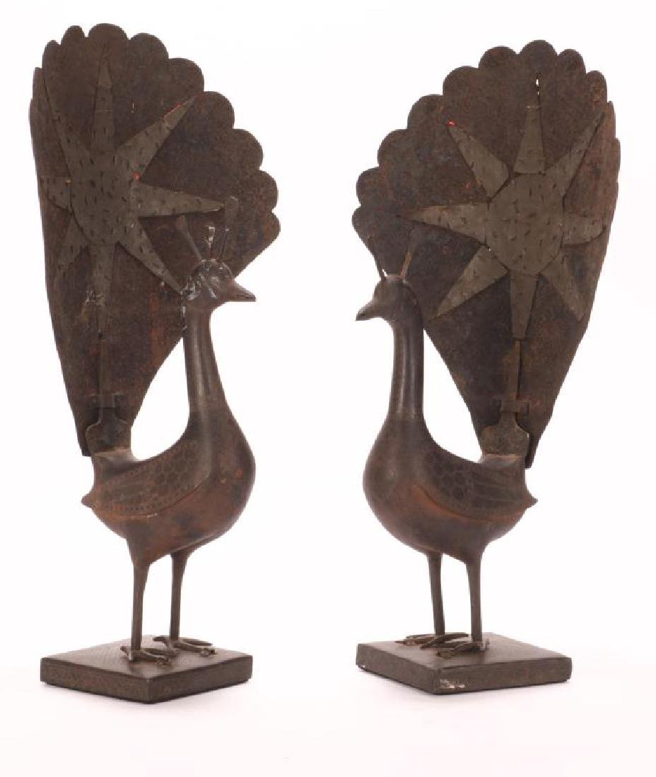 PAIR OF SPANISH WORKED IRON PEACOCKS - 8