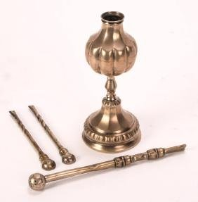 (3) SILVER BOMBILLA STRAW STRAINERS AND MATE CUP