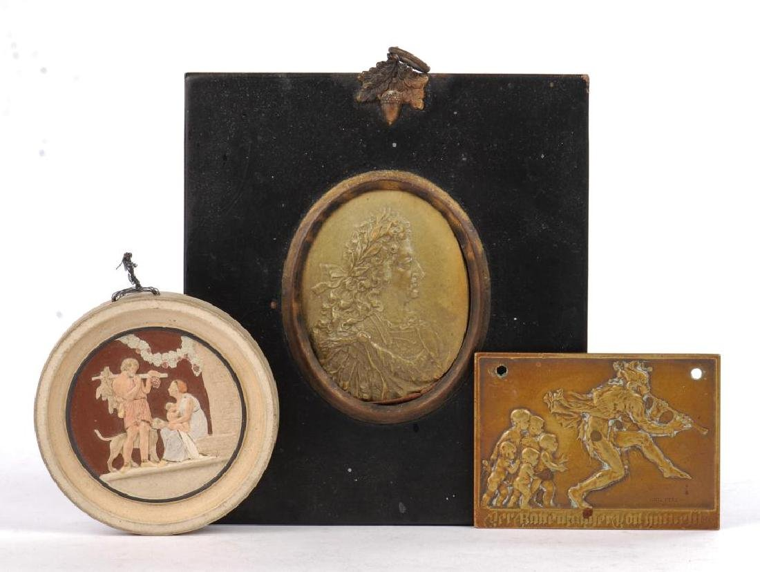 (3) SMALL PLAQUES IN LOW RELIEF