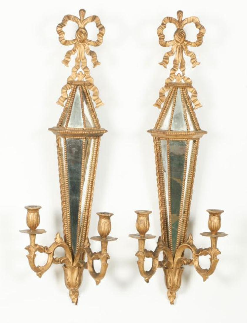 PAIR OF TWO LIGHT MIRRORED WALL SCONCES