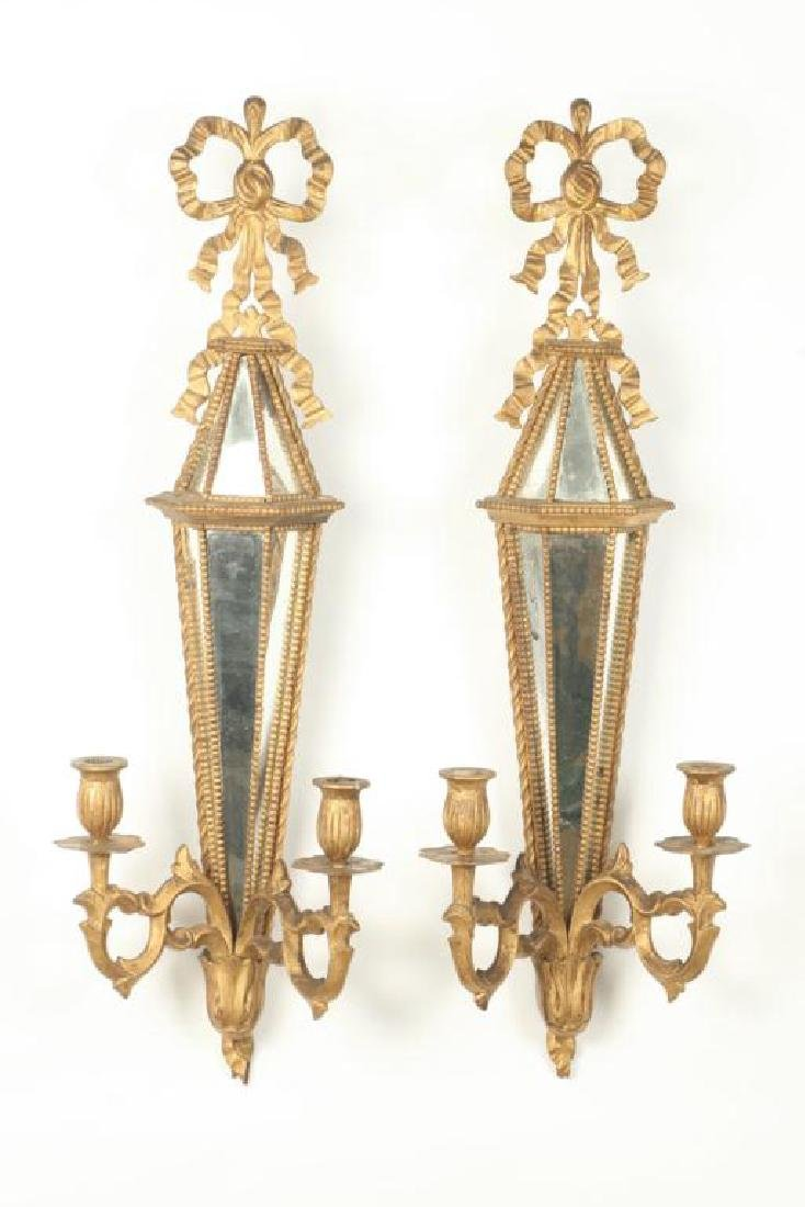PAIR OF TWO LIGHT MIRRORED WALL SCONCES - 2