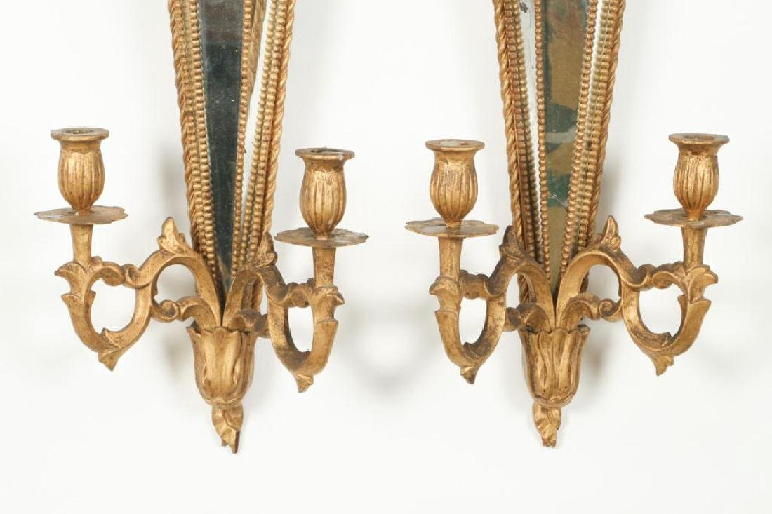 PAIR OF TWO LIGHT MIRRORED WALL SCONCES - 4
