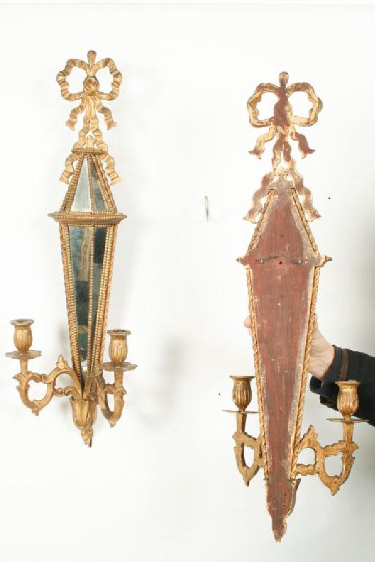 PAIR OF TWO LIGHT MIRRORED WALL SCONCES - 8