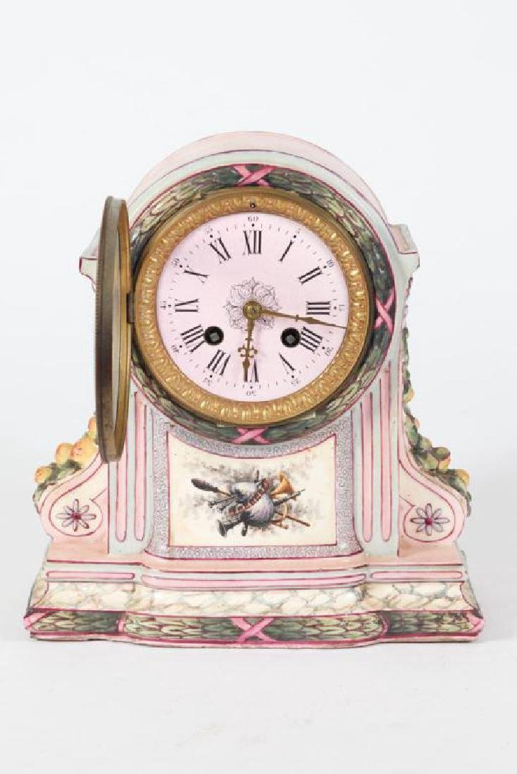 FRENCH PORCELAIN MANTLE CLOCK - 4