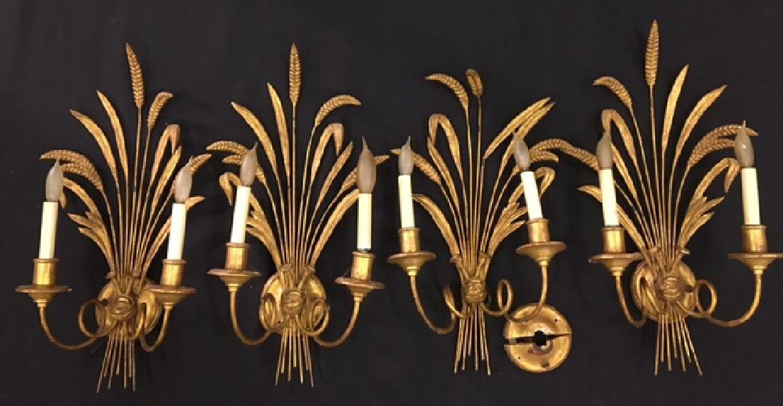 (4) GILT SHEAF OF WHEAT TWO-LIGHT SCONCES