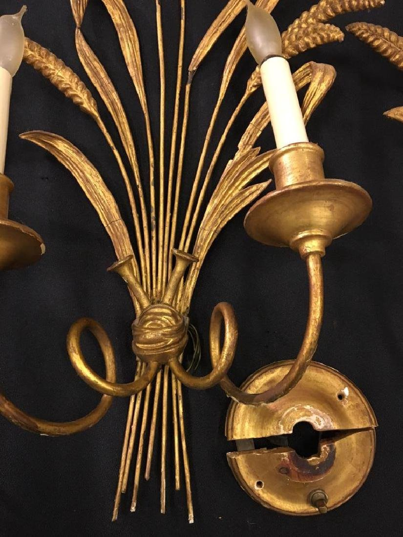 (4) GILT SHEAF OF WHEAT TWO-LIGHT SCONCES - 5