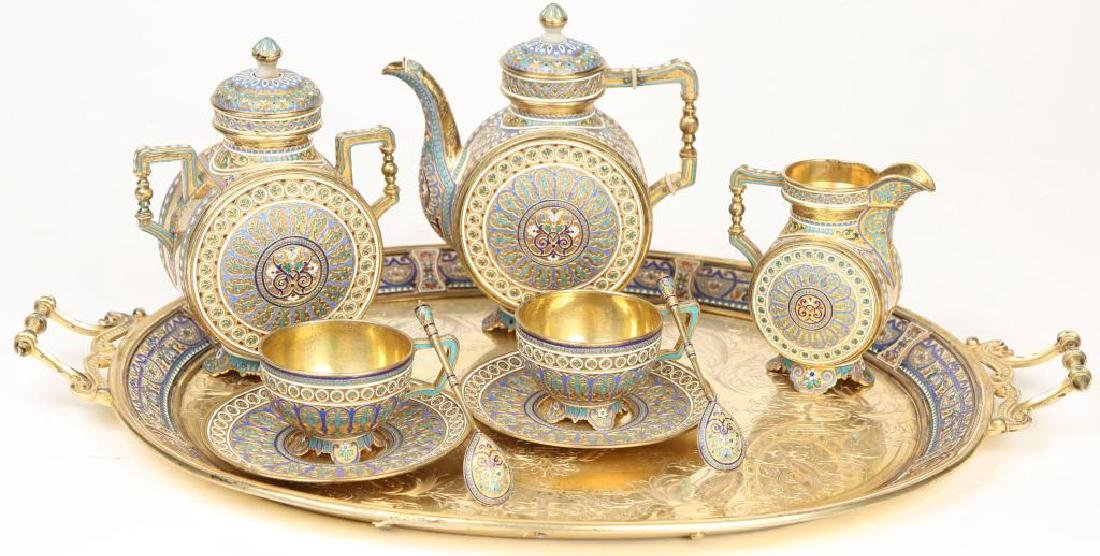 RUSSIAN ENAMELED (8) PIECE TEA SET TIFFANY & CO