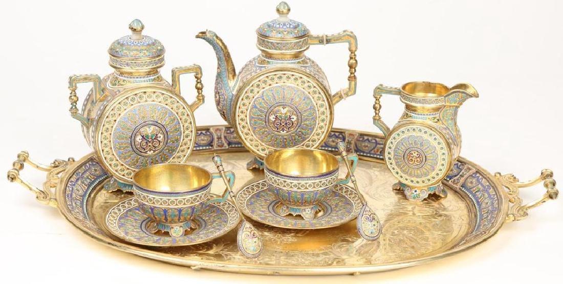 RUSSIAN ENAMELED (8) PIECE TEA SET TIFFANY & CO