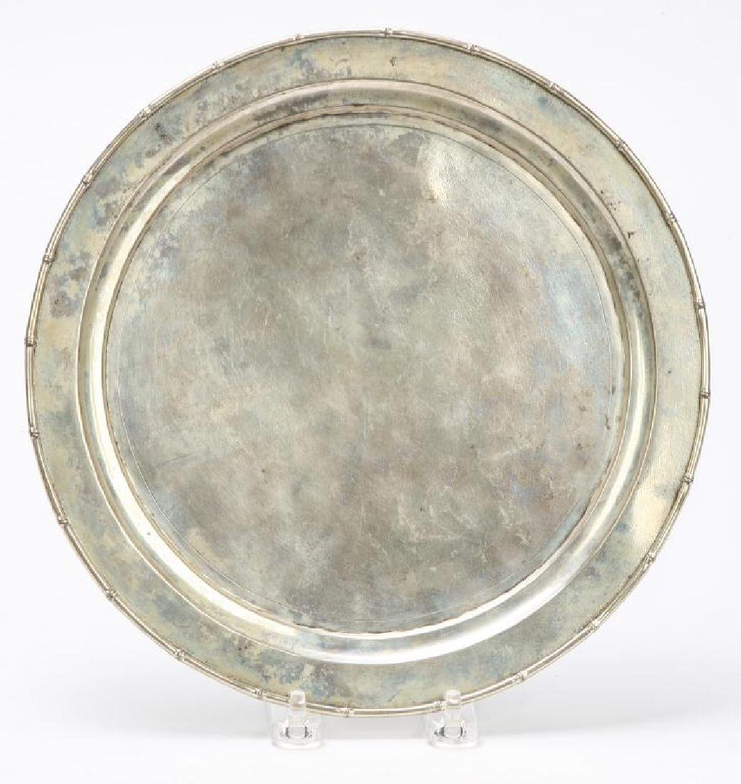 STERLING SILVER TRAY WITH BAMBOO RIM
