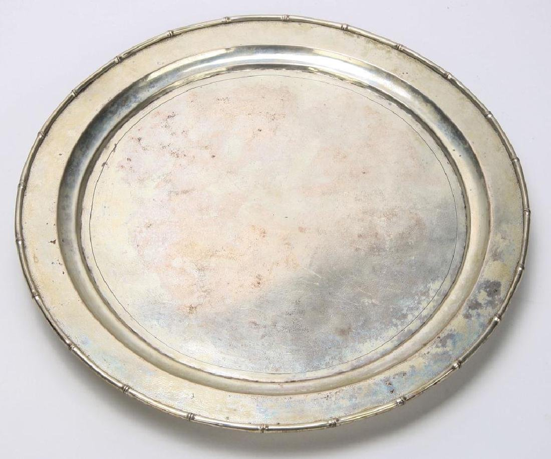 STERLING SILVER TRAY WITH BAMBOO RIM - 2