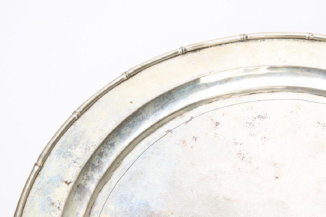 STERLING SILVER TRAY WITH BAMBOO RIM - 4