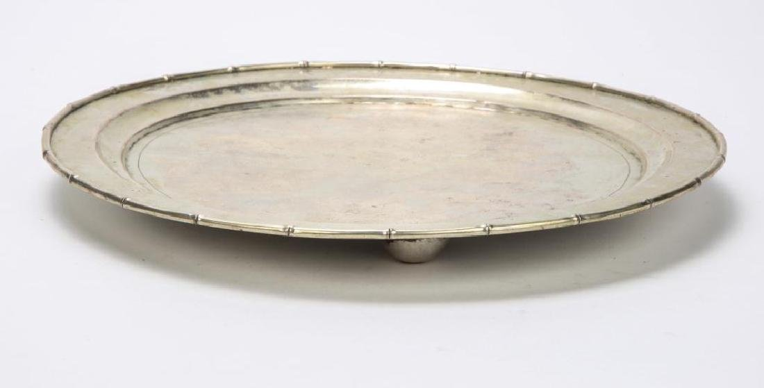 STERLING SILVER TRAY WITH BAMBOO RIM - 6