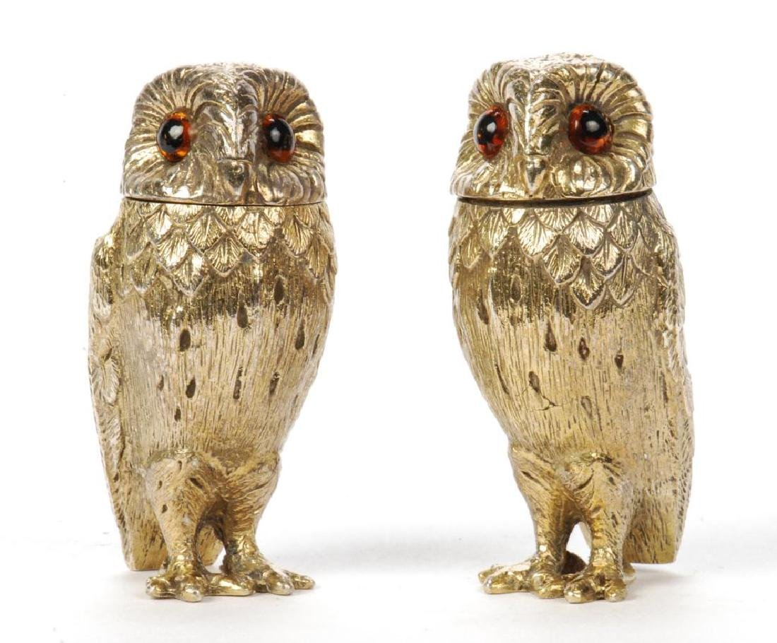 TIFFANY & CO STERLING SILVER OWL SALT & PEPPERS