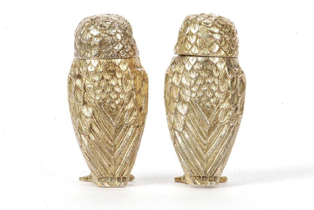 TIFFANY & CO STERLING SILVER OWL SALT & PEPPERS - 2