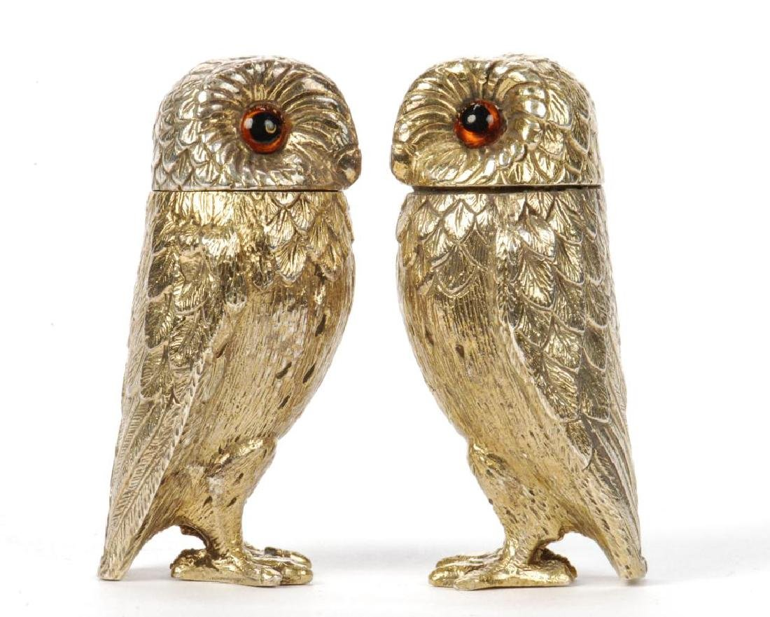 TIFFANY & CO STERLING SILVER OWL SALT & PEPPERS - 5