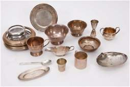 17 PIECE LOT OF STERLING SILVER HOLLOW WARES