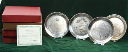 4 DANBURY MINT STERLING SILVER BICENTENNIAL PLATES