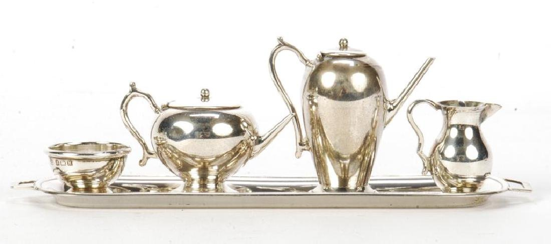 5) PIECE STERLING SILVER MINIATURE ENGLISH TEA SET - 2
