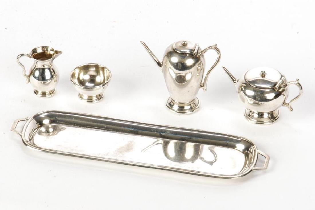 5) PIECE STERLING SILVER MINIATURE ENGLISH TEA SET - 5