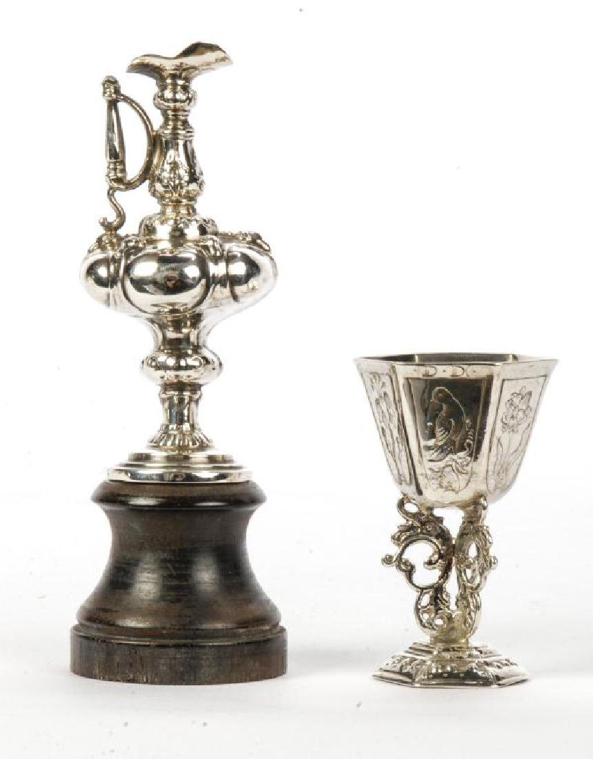 MINIATURE STERLING SILVER CHALICE AND EWER