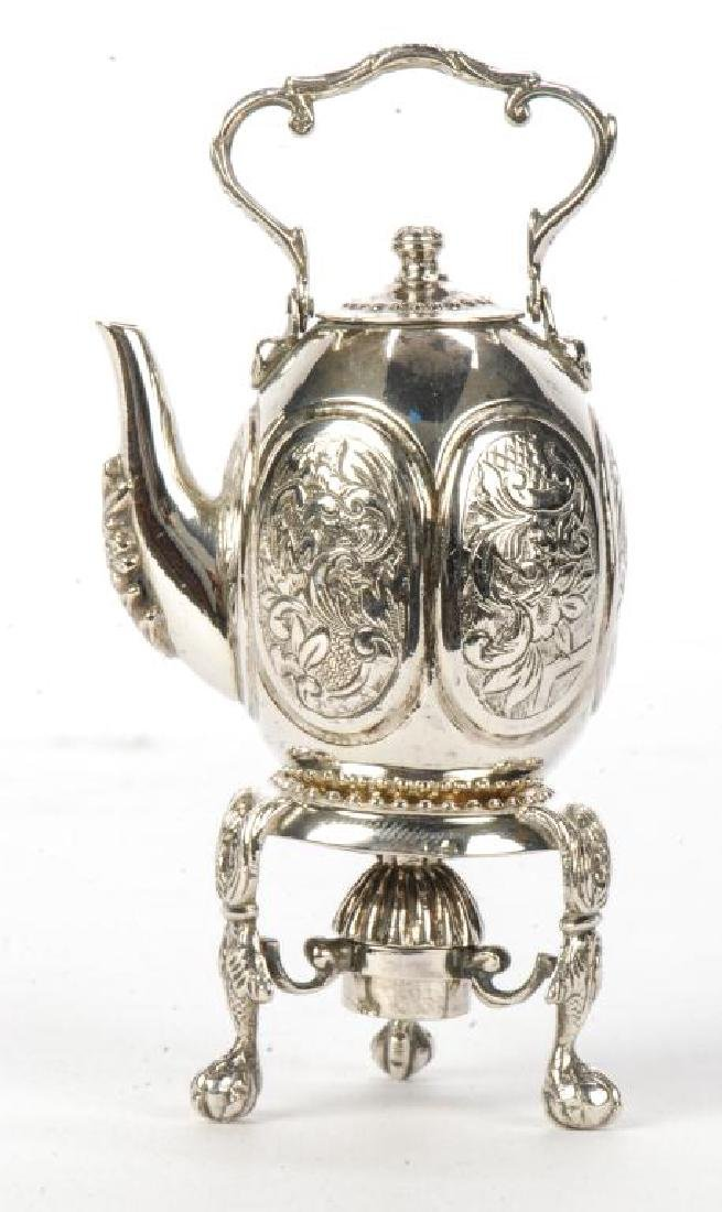 MINIATURE STERLING SILVER HOT WATER POT ON STAND