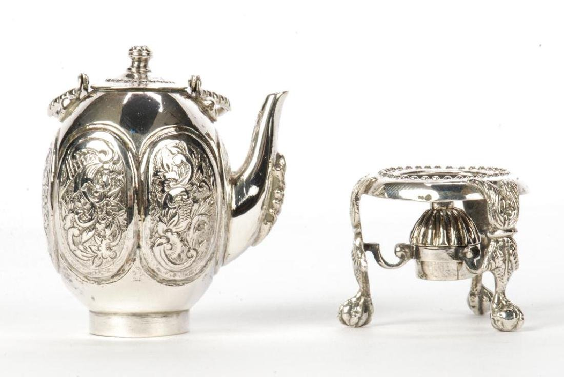 MINIATURE STERLING SILVER HOT WATER POT ON STAND - 2