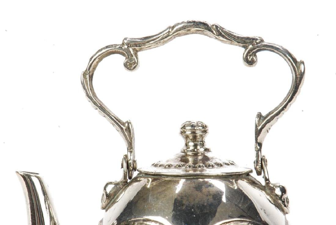 MINIATURE STERLING SILVER HOT WATER POT ON STAND - 4