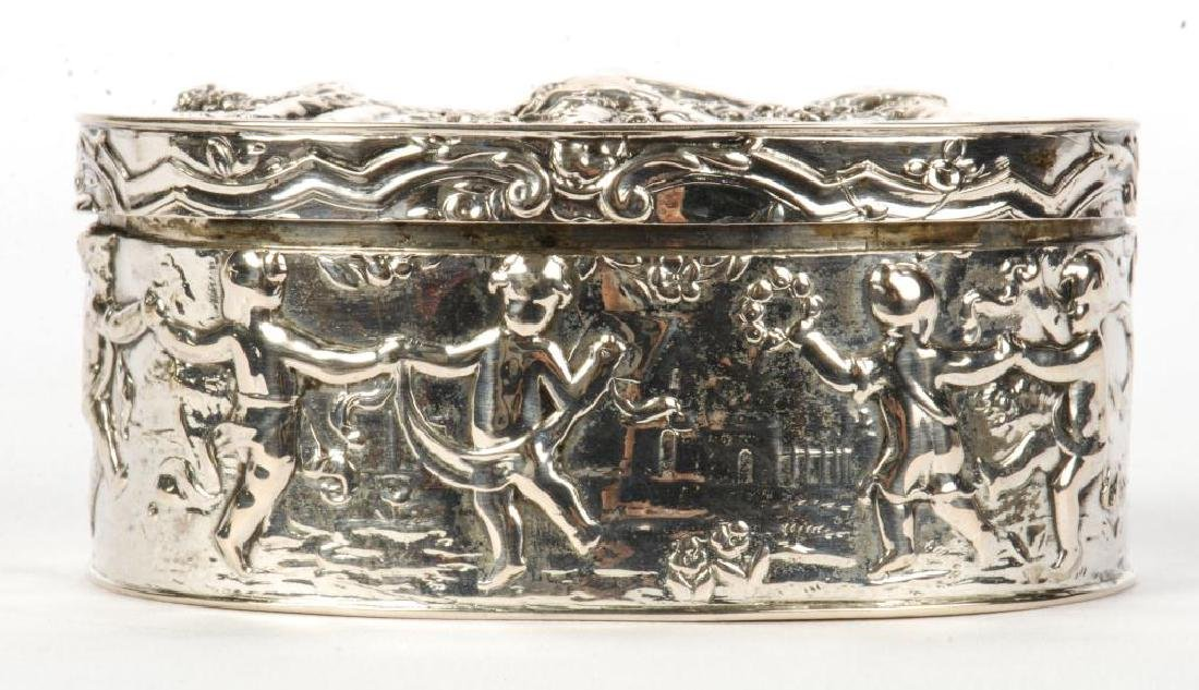 HAND CHASED STERLING SILVER OVAL BOX