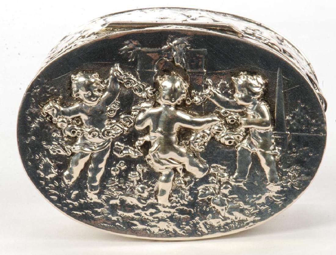HAND CHASED STERLING SILVER OVAL BOX - 2