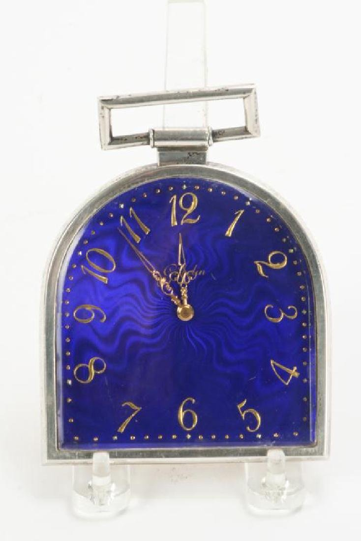 GUBELIN SWISS 8 DAY CLOCK WITH COBALT DIAL